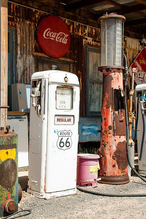 Old gas pumps on historic scenic Route 66 at Hackberry Springs General Store in Arizona.