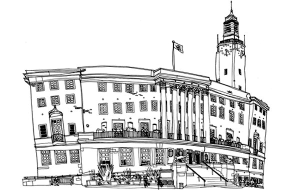Illustration of City Hall by Alex Nicholson.