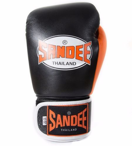 Sandee Neon Velcro Leather Boxing Gloves - Black & Orange