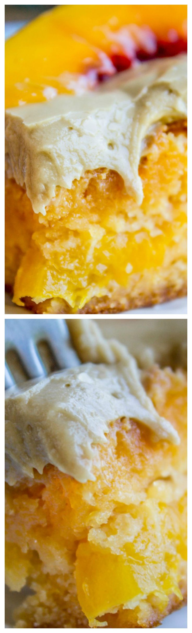 Peach Cake with Brown Sugar Frosting ~ A delightfully peachy cake made from a cake mix and a packet of Jello... There are real peaches in the cake, which makes it super moist. It is topped with a rich brown sugar frosting!