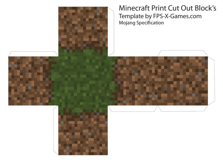 Minecraft grass dirt block template cut out | Minecraft ...