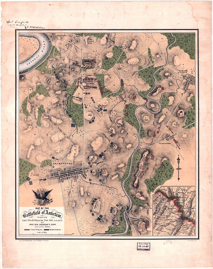 The Battlefield at Antietam    Maps based on eyewitness battle accounts, such as William H. Willcox's depiction of the Antietam battlefield, were highly sought after by the public. Willcox served at Antietam as Topographical Officer and Additional Aide-de-camp on the staff of U.S. Brigadier General Abner Doubleday, once thought to have been the inventor of baseball.