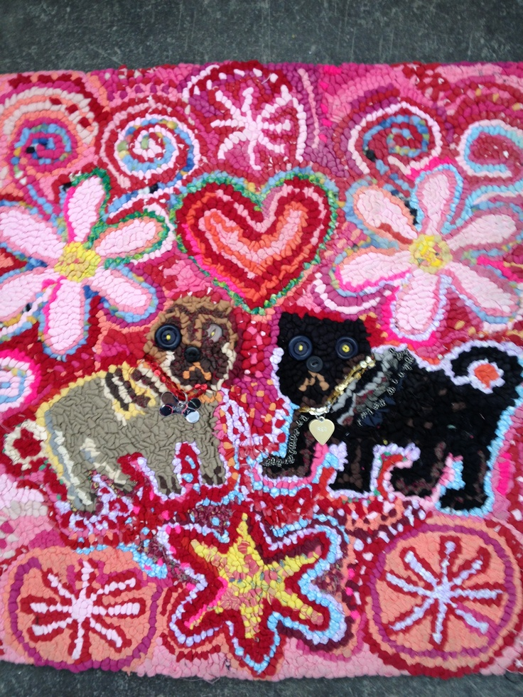 Monty and Reg hand hooked rug Lizzie Reakes