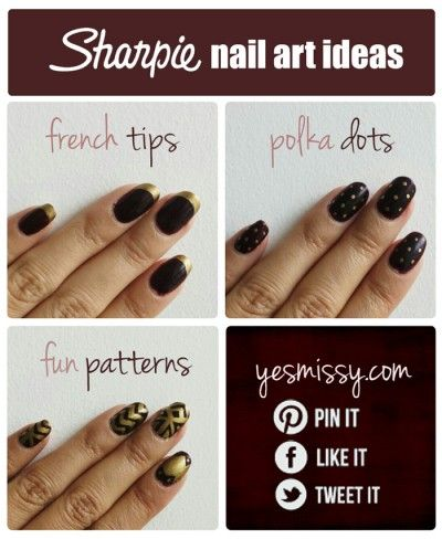 25 Sharpie Crafts - Use sharpies a nail art pens. Just finish with top coat!