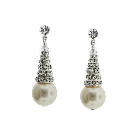 """Stacked rondelle drop earrings with Swarovski® pearl. - 1 ¾"""" long - Choose from 3 different pearl colors - Single crystal at the post - Bands of channel-set Swarovski® crystal - 14mm pearl - Assembled"""