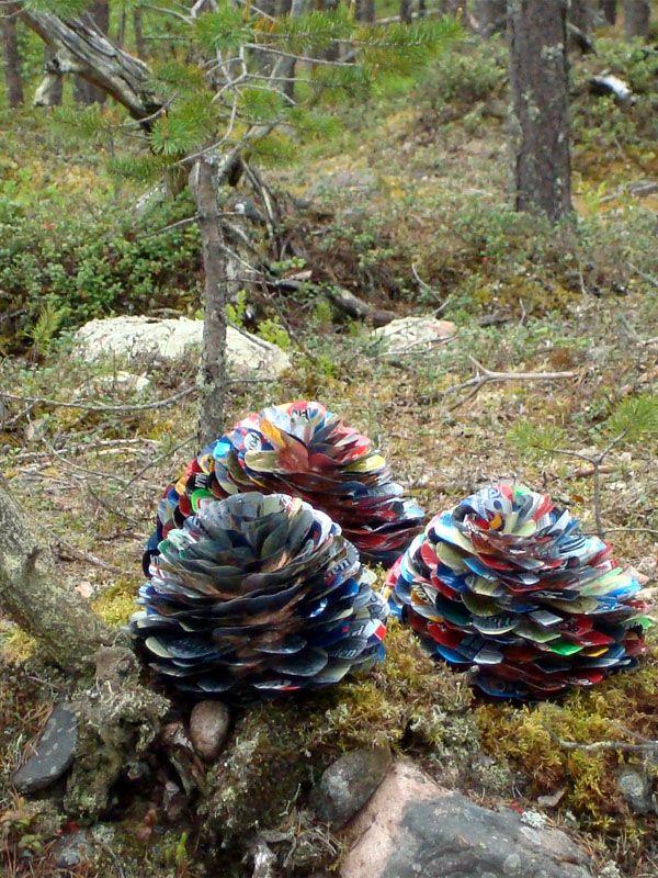Pine cones made of beer cans #Art, #Beer, #Reused