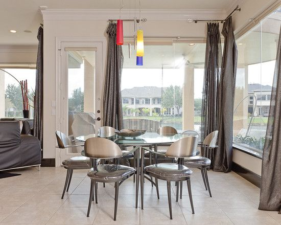 ... Protection And Privacy : Cool Contemporary Dining Room With Grey Large  Window Curtains And Modern Windows Design And Glass Round Dining Table And  Modern ... Part 97