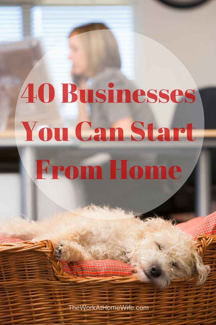 40 Businesses You Can Start From Home Home Business Ideasbusiness Tips Internet