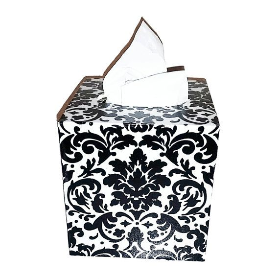 Hey, I found this really awesome Etsy listing at https://www.etsy.com/listing/224957286/black-and-white-damask-tissue-box-cover