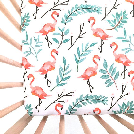 Crib Sheet Flamingos in Shade. Fitted Crib Sheet. Baby Bedding. Crib Bedding. Minky Crib Sheet. Crib Sheets. Coral Crib Sheet.