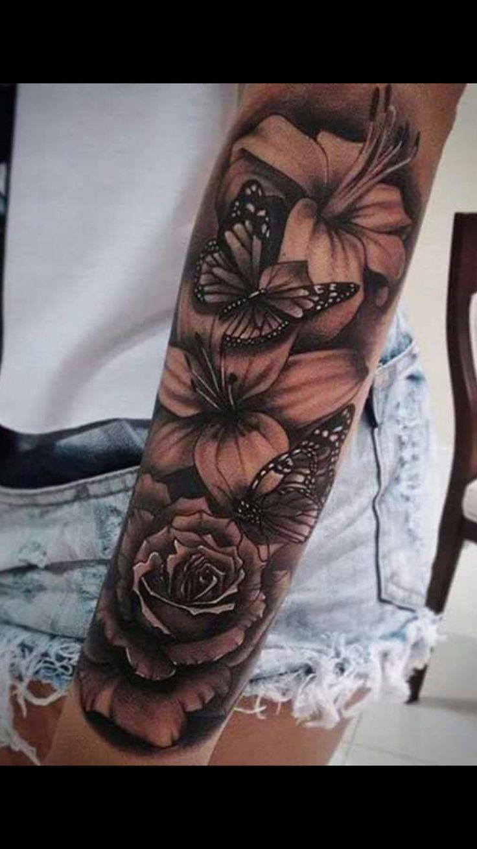 Hawaiian Flower Tattoos Black And White Hawaiiantattoos Sleeve Tattoos For Women Hawaiian Flower Tattoos Half Sleeve Tattoo