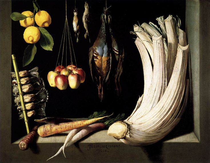 this painting is dated 1600. Celery or cardoon, apples, carrot, parsnip/parsley root type of vegetable, lemons, and something I don't recognize.