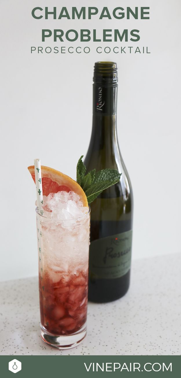 At the end of the day, we may have 99 problems but this delicious Riondo Prosecco cocktail ain't one. Champagne Problems cocktail recipe.