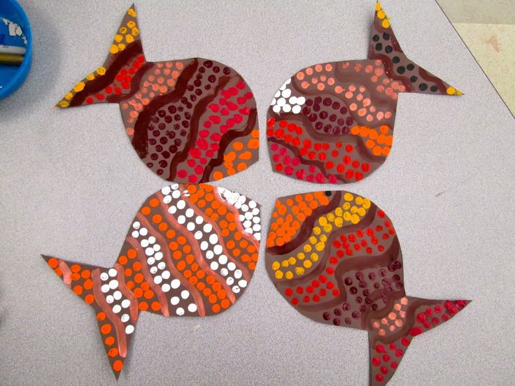 International Fair: Aboriginal Dot Painted Fish of Australia by PK-4th Grade | Lower School Art at Kinkaid