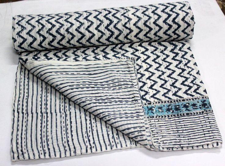Indian Hand Made Print cotten Kantha Bedspeard cover  Jaipuri Blanket #Handmade #ArtsCraftsMissionStyle