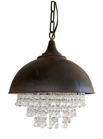 "Industrial meets bling! Best of both worlds... 13-1/4"" ROUND X 15""H METAL CHANDELIER W/ CRYSTALS (40 WATT BULB MAXIMUM, UL LISTED)"