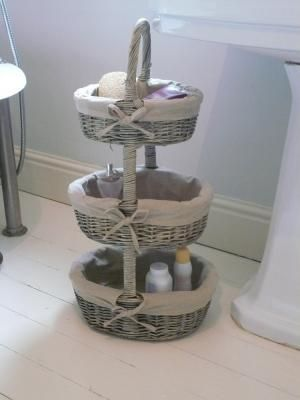 wicker 3 tier basket unit - Melody Maison® bathroom perfection