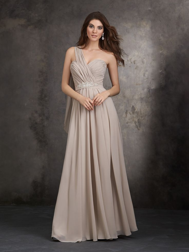 Style #1407 This full-length gown accents gracefully draped chiffon with a crystal beaded design.