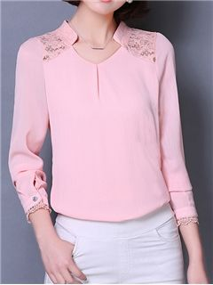 Ericdress Lace Patchwork Stand Collar Blouse