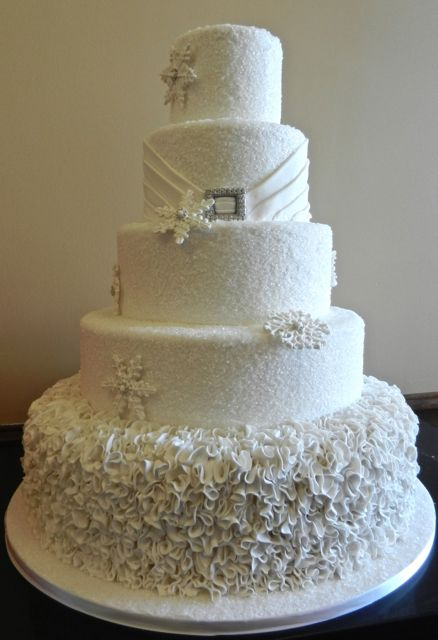 5 Tier Snowflake Wedding Cake