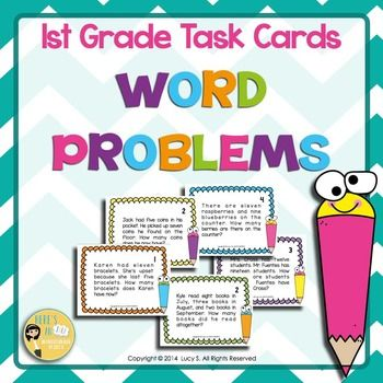Word Problems Task Cards  First Grade Math 63 task cards!Word Problems can be tough for students to master. This set of task cards covers a lot of variations in the way the word problems are presented and they will help your students practice how to solve problems.***************************************************************************TABLE OF CONTENTSPage 4:  Task Cards Covers for sets 1-4Pages 5-7: ADD TO word problems - 12 cards4 cards: result unknown4 cards: change unknown4 cards…
