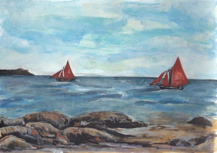 Two Galway Hookers by Fiona Concannon on ArtClick.ie Irish Seascape Watercolour Art Galway