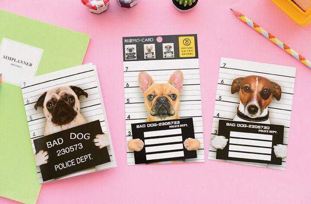 Новизна Непослушный Заключенного Собака Скретч-Карты Открытки Открытки Подарочные Карты Рождественская Открытка На День Рождения