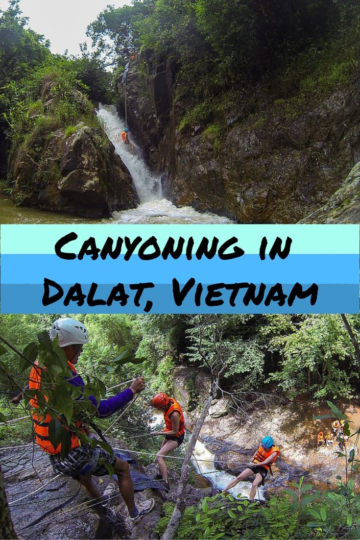 Rappelling down waterfalls, cliff jumping, natural water slides and hiking – right up our alley! Canyoning in Dalat is a MUST do and a very fun day out. #canyoning #dalat #vietnam #adventure