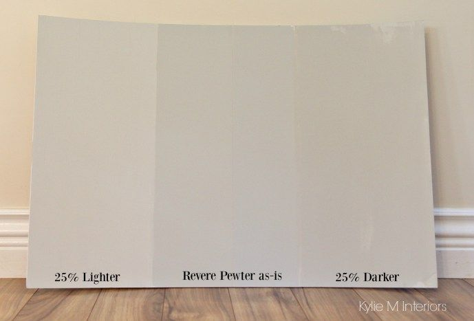 How to lighten and darken a paint colour. Benjamin Moore Revere Pewter. Kylie M Interiors e-decorating and online colour services