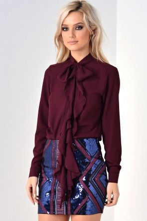 Alison Bow Chiffon Top in Plum