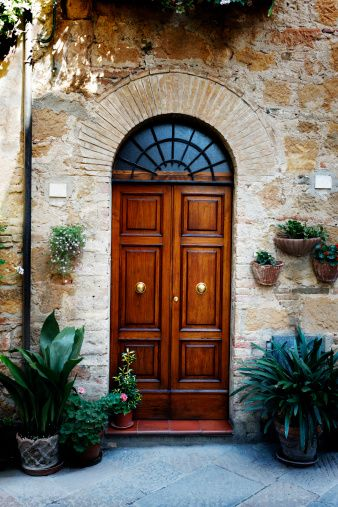 Royalty-free Image: Elegant Front Door with Vase Color Image