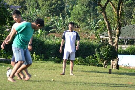 Playing Football..