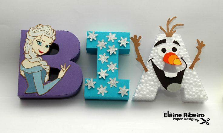 Letras 3D com o tema Frozen. http://paperdesigner.wordpress.com/2014/10/15/letras-congelantes/