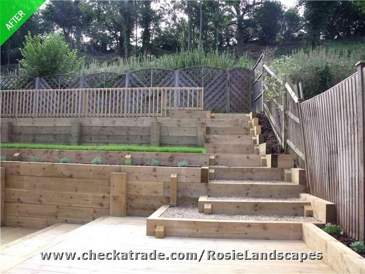 18 best images about sleepers pathway on pinterest for Decking sloping garden designs