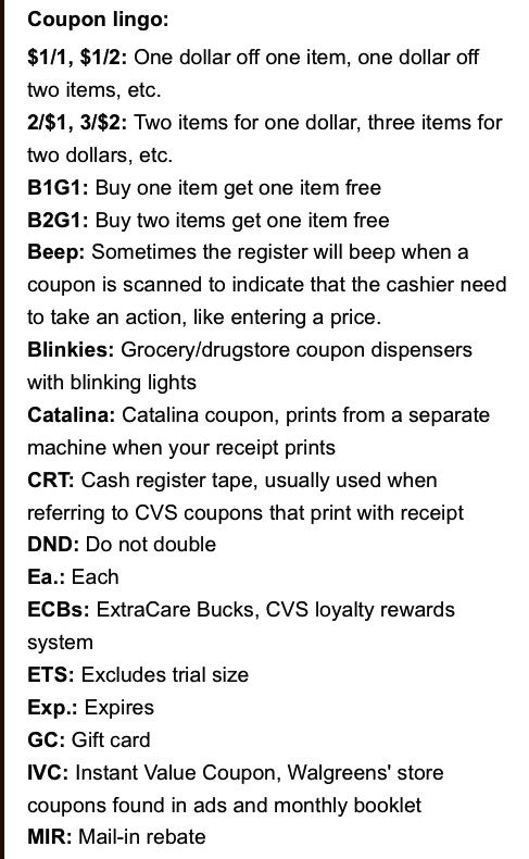 Coupon terms and meanings