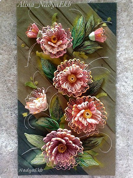 *QUILLING ~ The painting mural drawing Paper Quilling Flowers band photo 1