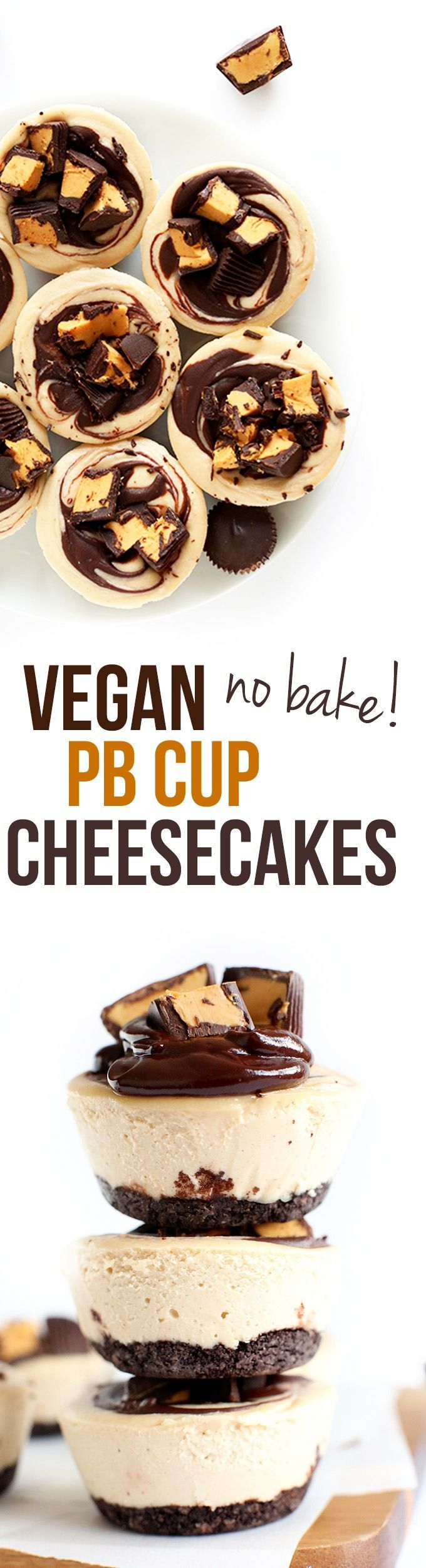 Amazing no bake cheesecakes loaded with Peanut Butter Cup flavor! Just 9 ingredients and this vegan dish is ready to enjoy.
