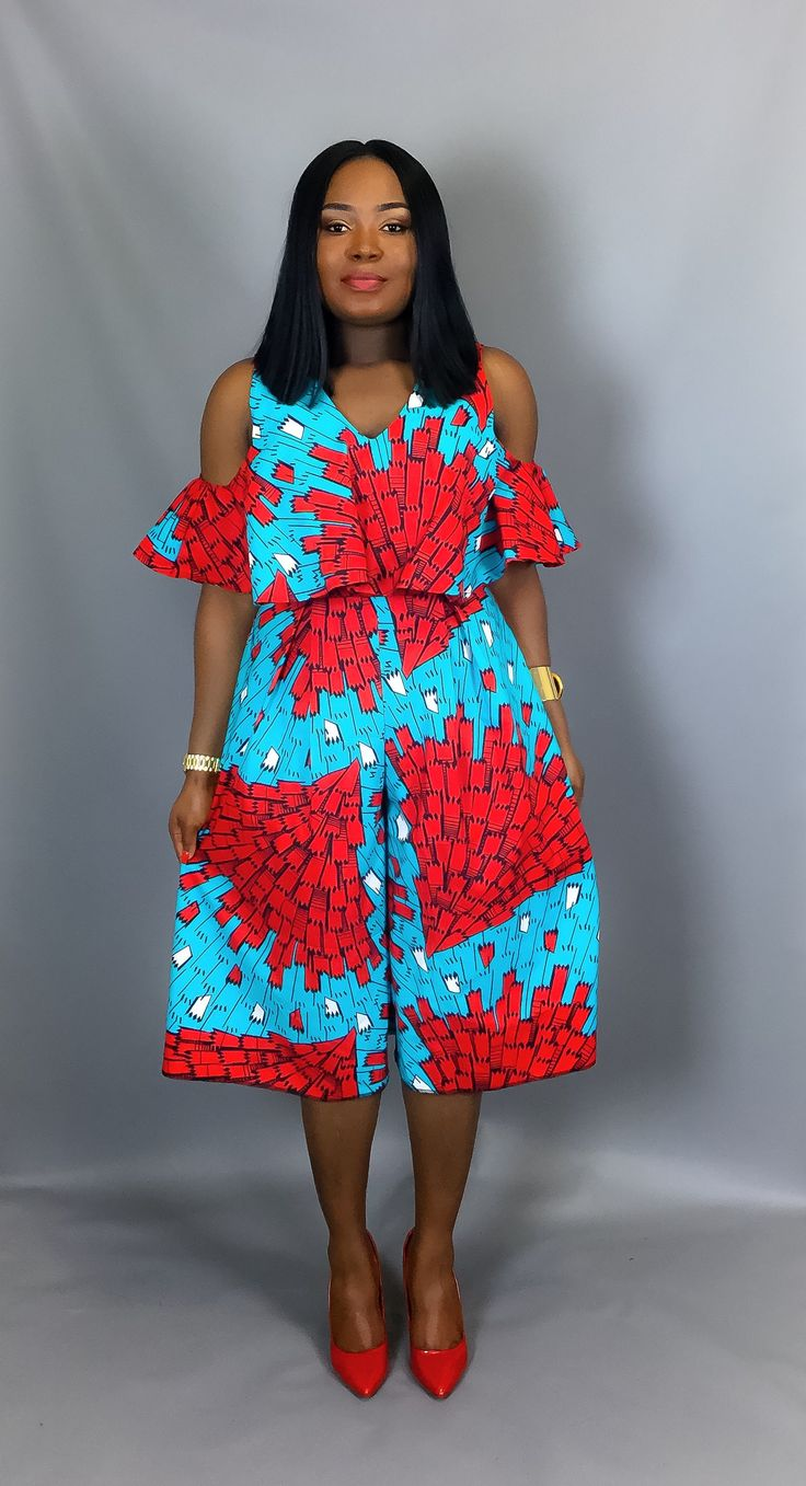 African print off shoulder culottesAfrican clothingAfrican
