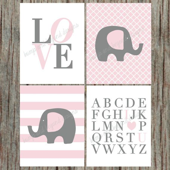 "INSTANT DOWNLOAD Girl Nursery Wall Art Set of 4 Printable Elephant Love ABC's Digital Files Nursery Room Decor 8""x10"" Powder Pink Grey 005 on Etsy, $8.00"
