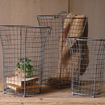 Flared Wire Baskets (Set of 3) - eclectic - baskets - atlanta - Iron Accents