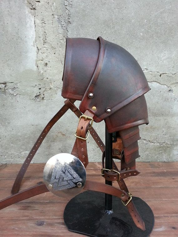 Brown Armor Leather Pauldron Valknut: Odin's by IronWoodsShop