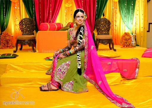 Green and pink mehndi dres