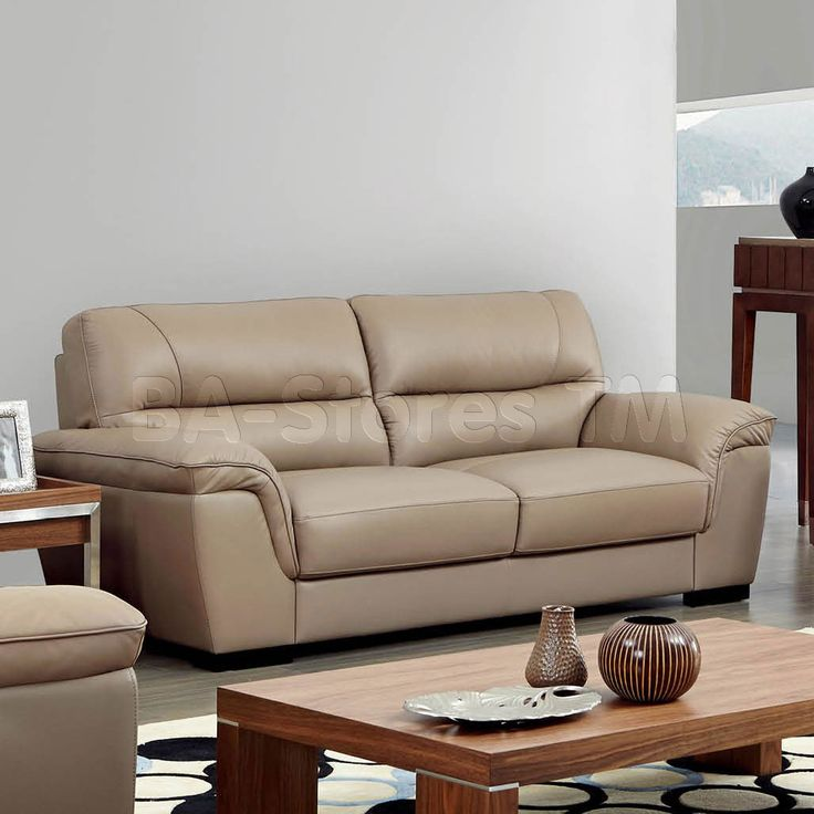 Tufted Sofa  Modern Leather Sofa in Beige by ESF