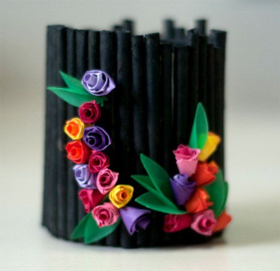 Handmade Pen Stand Designs : Best images about penstand on pinterest quilling old