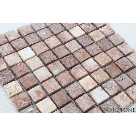 Mozaika kamienna na siatce z tworzywa ułatwiającej montaż. Cena dotyczy jednego plastra mozaiki w wymiarze 30x30 cm. -na 1m2 składa się 11 plastrów -Materiał:marmur -Kolor: intensywniejszy odcień uzyskany został po impregnacji -Wymiar jednego elementu: ok.3x3cm