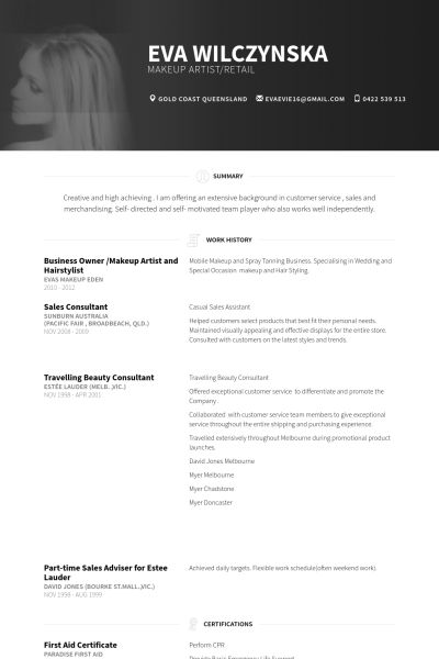 business owner /makeup artist and hairstylist Resume Example