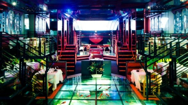Restaurant dragons elys es paris avec au sol un for Aquarium insolite