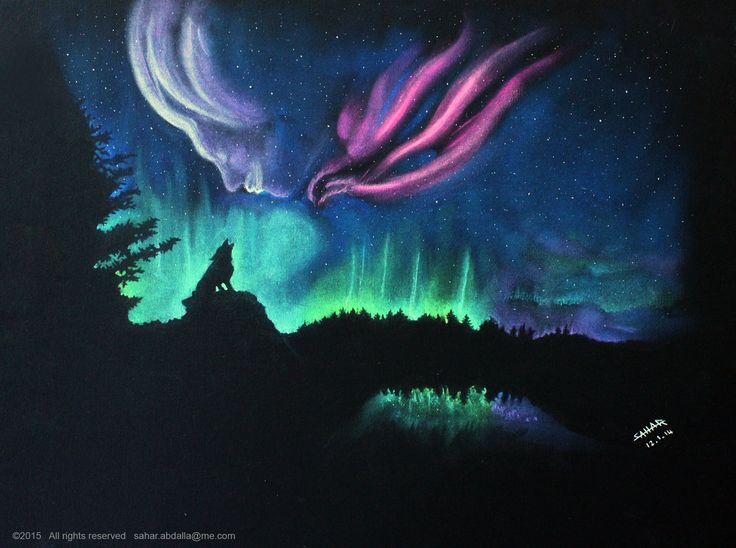 """Northern Dream"" - Soft pastel on black paper #NorthernLights #AuroraBorealis #Silhouettes - Instagram @Xtra_Gravity"