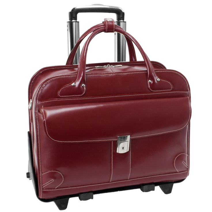 McKlein® Lakewood 96616 Red Leather Fly-Through™ Checkpoint-Friendly Detachable-Wheeled Ladies' Briefcase