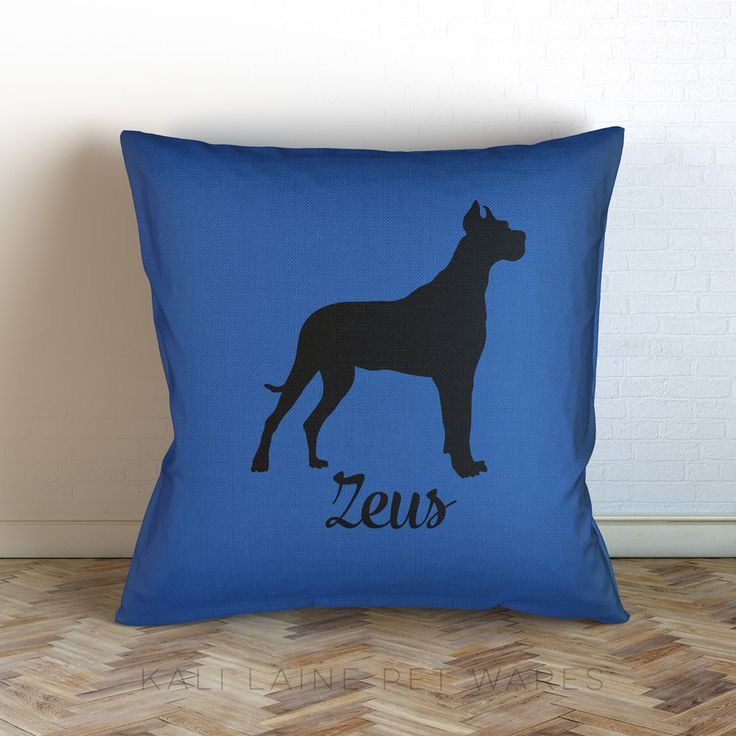 Personalized Dog Name Decorative Throw Pillow/ great dane / Personalized/ Choose Color/ Custom Name/ Dog Pillow/ great dane (37.00 USD) by KaliLainePetWares